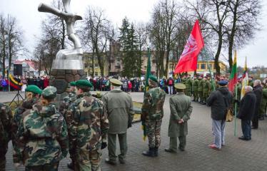 Lietuvos nepriklausomybės atkūrimo diena Anykščiuose (2016) - Valstybinės vėliavos pakėlimo ceremonija - Renginio akimirka