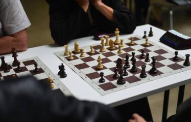 Valstybės (Lietuvos karaliaus Mindaugo karūnavimo) diena (2017) - Šachmatų dvikova Anykščiai - Ukmergė - Šachmatų lenta