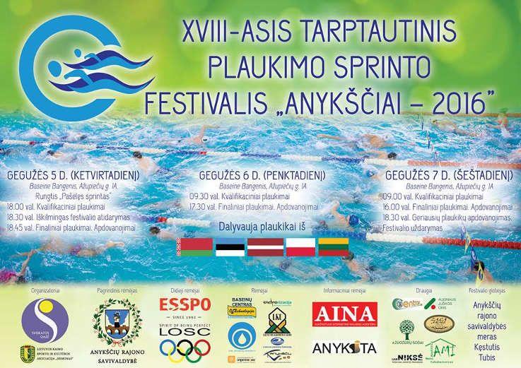 """XVIII-asis Tarptautinis plaukimo sprinto festivalis """"Anykščiai - 2016"""""""